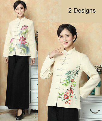 Free Shipping New Arrival Chinese Women's Hand-Made Painted FlowerJacket Coat