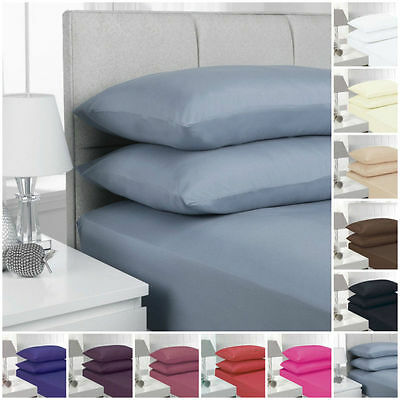 Percale Extra Deep Fitted Sheets / Pillow Cases Non Iron Fabric 180T Depth 40cms