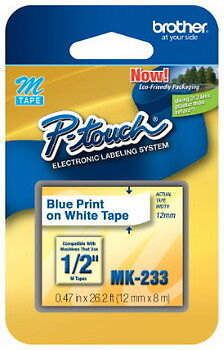 "1/2"" (12mm) Blue on White P-touch M Tape for Brother PT-65, PT65 Label Maker"