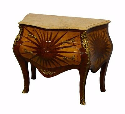 French Louis XV Style Bombe Chest of Drawers Commode w/ Marble Top