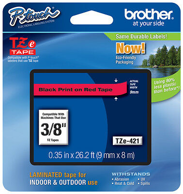 "Brother TZe-421 3/8"" Black on Red P-touch Tape (9mm), TZe421, TZ421, TZ-421"