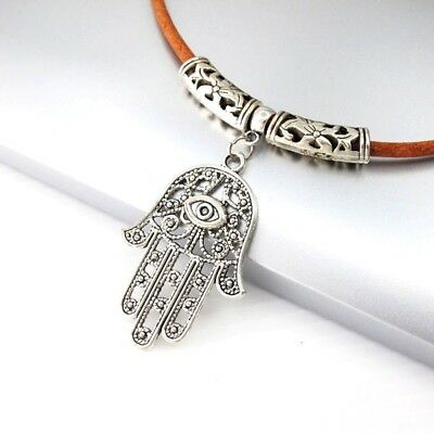 Silver Alloy Hand Of Fatima Hamsa Pendant 3mm Brown Leather Tribal Necklace Cord