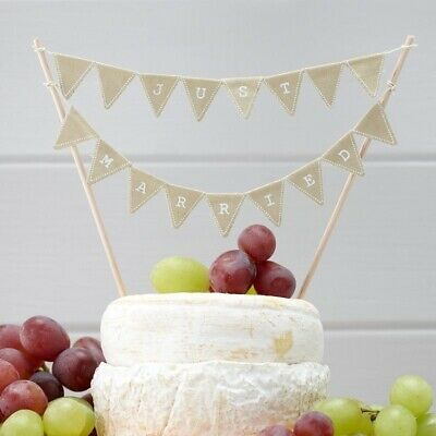 Ginger Ray Vintage Just Married Mini Cake Bunting, Beige Fabric, Hessian
