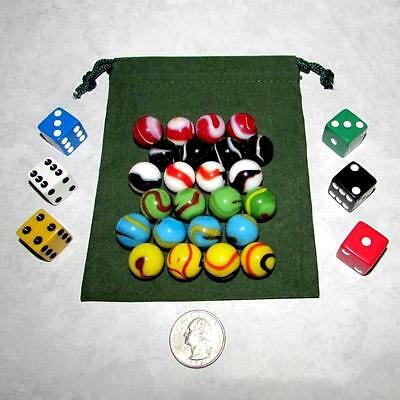 """MO-Marbles Six Player 5/8"""" Rainbow Aggravation Wahoo Glass Marbles Set 99456205"""