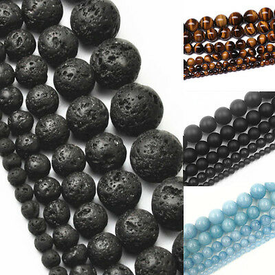 """16"""" Strand Natural Stone Sea Blue Gemstone Bead Spacer Beads 4 6 8 10 12 mm"""