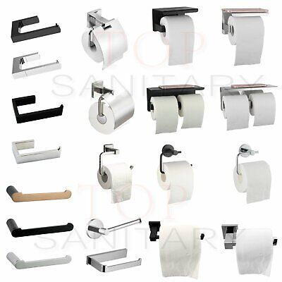 Toilet Paper Roll Holder Hook Hanger Square Cover SS304 Black Silver Wall Tissue