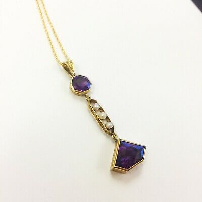 Antique Amethyst and Seed Pearl 14ct gold pendant and chain.  Beautiful Art Deco