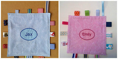Personalised baby's name embroidered Taggie Sensory comforter gift idea
