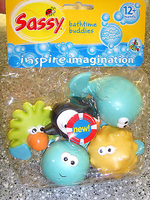 Sassy Bathtime Buddies - NEW IN PACKAGING - Fun Characters that float