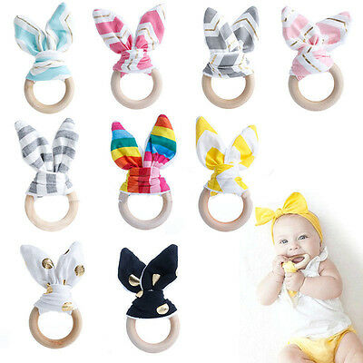 Natural Wooden Baby Handmade Teething Ring Chewie Teether Bunny Sensory Toy CHI