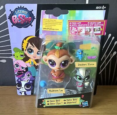 Littlest Pet Shop Deco Bits! Mushrom Lee & Sneakers Stymie Brand NEW & SEALED!!