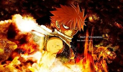 Fairy Tail Natsu Dragneel TCG playmat, gamemat 60cm wide 36cm tall for trading c