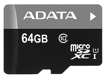 64GB AData Turbo microSDXC UHS-1 CL10 Memory Card w/SD adapter