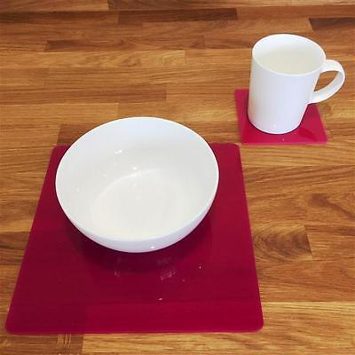Pink Square Placemat and Coaster Set