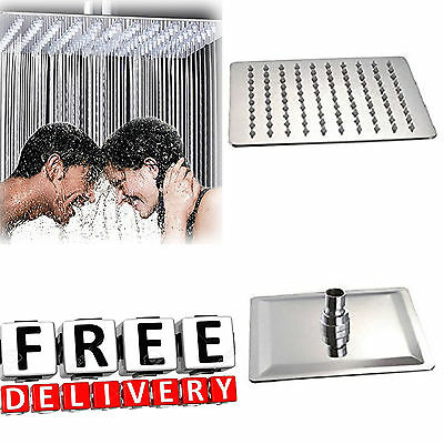 "Rainfall Shower Head 8"" Square Rain Polished Chrome Waterfall Rain Spray"