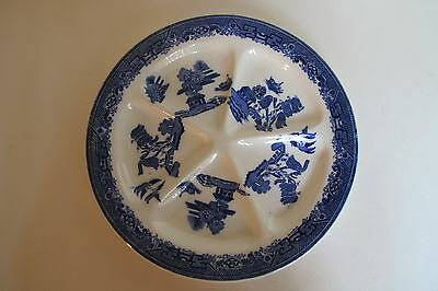 """Unusual S H Blue Willow 5 part Oyster?Serving Plate made England 10.5"""""""