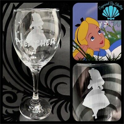 Personalised Disney Alice In Wonderland Glass Handmade! Free Name Engraving