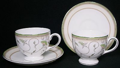 "WEDGWOOD china HEIRESS pattern CUP & SAUCER Leigh 2-3/4"" SET OF TWO (2)"