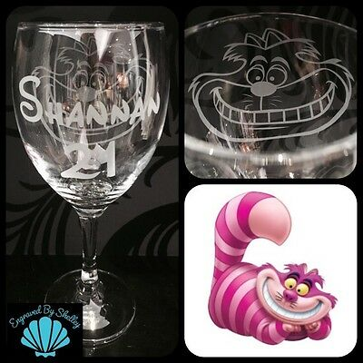 Personalised Cheshire Cat Alice Wonderland Glass Handmade Any Name Engraved FREE
