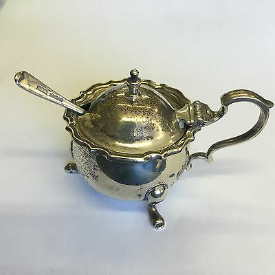 Vintage Solid Silver Mustard Pot With Glass Liner & Spoon Mappin Webb 1941