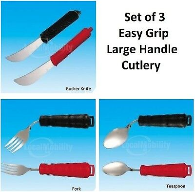 Set of 3 Big Large Handle Cutlery RED Ideal for Weak Grip Fork, Spoon, Knife