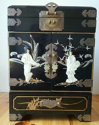 """● Beautiful 15"""" Tall Vintage Traditional Japanese Jewelry Box Mother Of Pearl"""