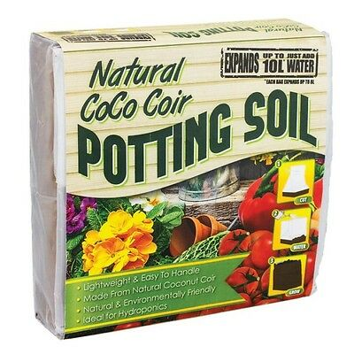 Coco Compact Potting Soil Compost Block 10 L  - Free Mixing Bag Included