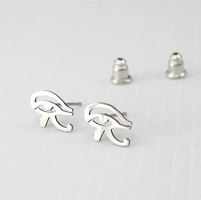 Silver Stainless Steel Egypt Eye Of Horus Ra Egyptian Jewellery Stud Earrings