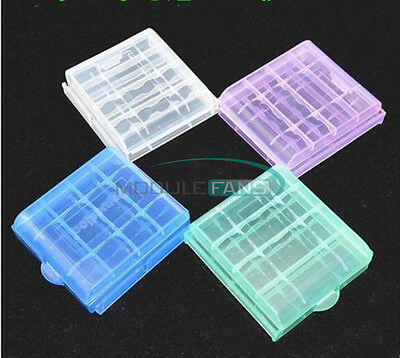 Portable 4 x Plastic Translucent Case Holder Storage Box for AA AAA Battery M
