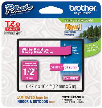 Brother TZe-MQP35 White on Pink P-touch Tape, Genuine TZeMQP35 TZ-MQP35, TZMQP35