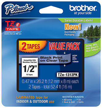 "Brother TZe-131-2PK 1/2"" Black on Clear P-touch Tape 12mm Twin Pack, TZe1312PK"