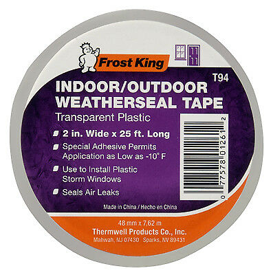 Thermwell T94H Clear Plastic Window Weatherseal Tape, 2-In. x 25-Ft.