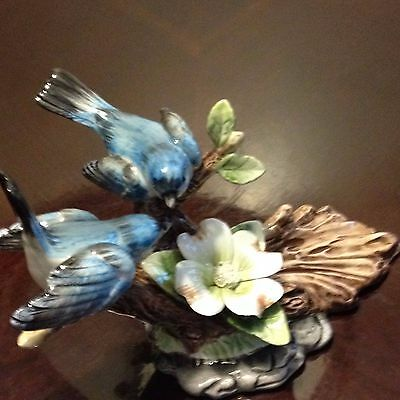 Beautiful Blue Birds on a branch with flowers and leaves