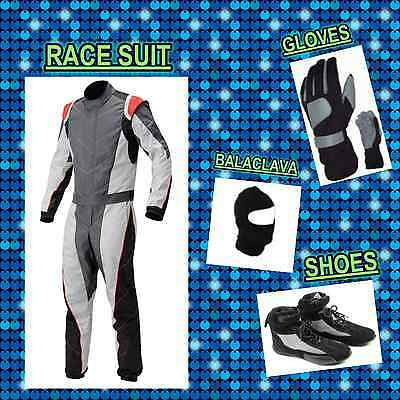 Grey and White Go Kart Race suit (includes Suit, Gloves, Balaclava & Shoes)