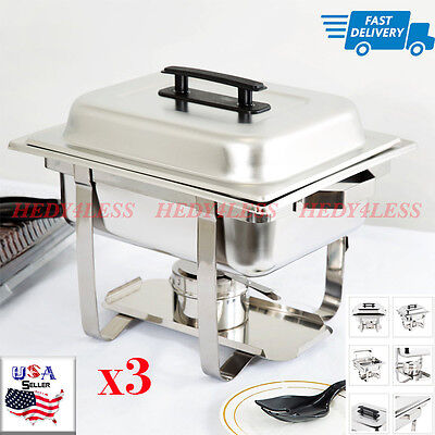 Set of 3 Choice Classic Half Size 4 Qt. Stainless Steel Chafing Dishes Catering