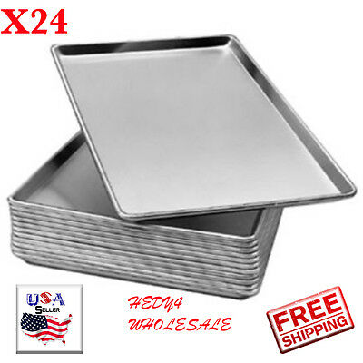 "24pack Full Size 19 Gauge Aluminum Bun Pan / Sheet Pan - Wire in Rim, 18"" x 26"""
