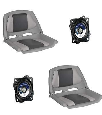Folding Moulded Padded Boat Seat Grey/Charcoal and Swivel x 2