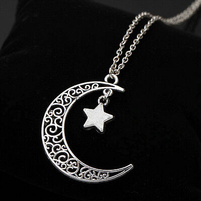 Pendant Jewelry Charm Necklace Crescent Star Chain New Silver Choker Moon Plated