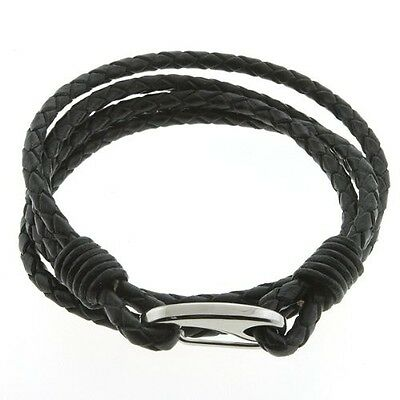 19cm Braided Double Wrap Leather Men's Bracelet With Stainless Steel Clasp. Ship