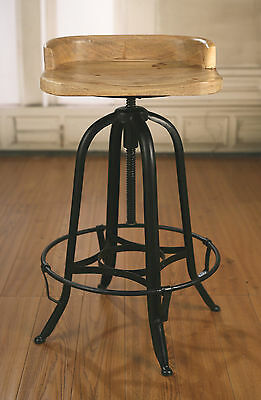 Stool French Industrial Metal Base Adjustable Provincial Hardwood Rustic Bar New