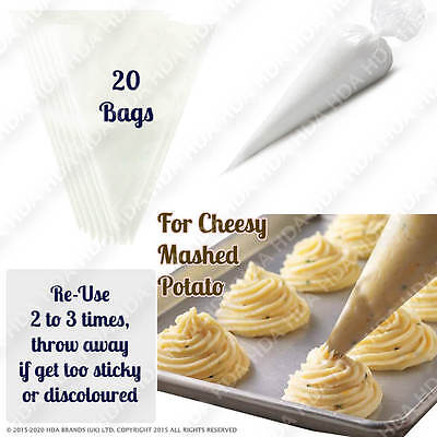 20x Icing Piping Bags Strong Disposable For Cheesy Mashed Potato Decorating