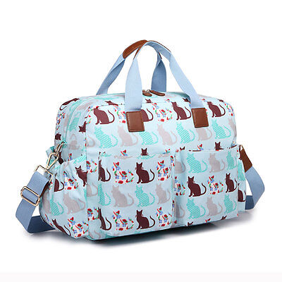4pcs Cat Mummy Maternity Baby Nappy Diaper Changing Bag Wipe Clean Blue