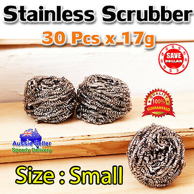 30p x Stainless Steel Scrubber Small Size Dish Cleaning Sponges Kitchen Scourer