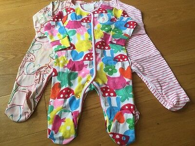 Next Baby Girls 3-6 Months Sleepsuits BNWT - Next Girls Outfit Babygrows