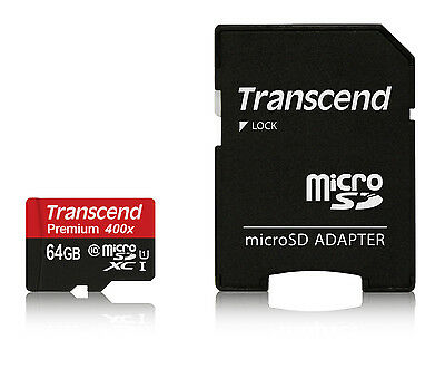 64GB Transcend Premium microSDXC CL10 UHS-1 Mobile Memory Card with SD Adapter