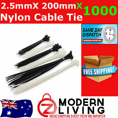 1000 x Black Nylon Cable Ties 2.5mmx200mm  Free Postage