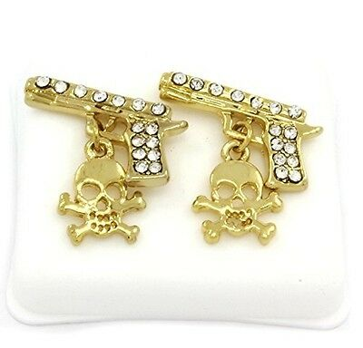 Mens 14k Gold Plated Cz Micro Pave Iced Out Hip Hop Gun with Skull Stud Earrings