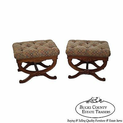 Solid Mahogany Pair of Regency Style X Base Ottomans