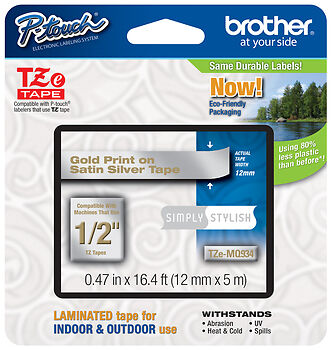 "Brother 1/2"" (12mm) Gold on Silver P-touch Tape for PTD210, PT-D210 Label Maker"
