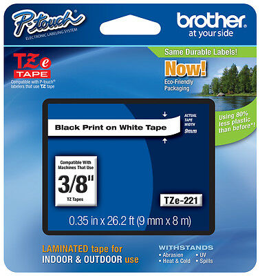 "Brother 3/8"" (9mm) Black on White P-touch Tape for PTH100, PT-H100 Label Maker"